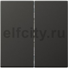 Выключатель двухклавишный, проходной (вкл/выкл с 2-х мест) 10 А / 250 В, пластик антрацит