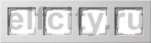 Рамка 4 поста, для горизонтального/вертикального монтажа, пластик белый глянцевый