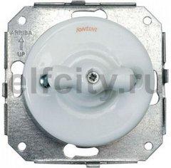 Выключатель поворотный одноклавишный универсальный (вкл/выкл с 1-го 2-х мест) 10 А / 250 В, для внутреннего монтажа, фарфор белый