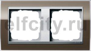 Рамка 2 поста, для горизонтального/вертикального монтажа, пластик прозрачный коричневый-алюминий