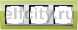 Рамка 3 поста, для горизонтального/вертикального монтажа, пластик прозрачный зеленый-алюминий