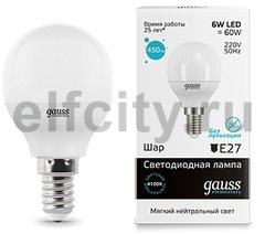 Лампа LED Elementary Globe 6W E14 4100K 1/10/50
