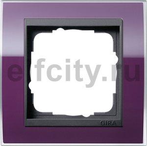 Рамка 1 пост, пластик прозрачный темно-фиолетовый-антрацит