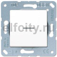 Выключатель одноклавишный с подсветкой, универс. (вкл/выкл с 2-х мест) 10 А / 250 В, пластик белый глянцевый