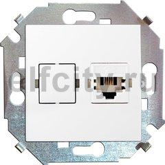 Розетка телефонная одинарная RJ11, белый