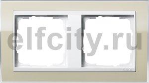 Рамка 2 поста, для горизонтального/вертикального монтажа, пластик прозрачный песочный-глянц.белый