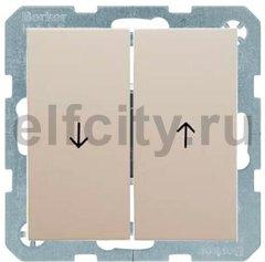 Выключатель управление жалюзи, клавишный, 10 А / 250 В, пластик кремовый (белый с блеском)