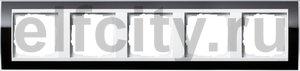 Рамка 5 постов, для горизонтального/вертикального монтажа, пластик прозрачный черный-глянц.белый