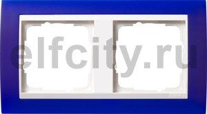 Рамка 2 поста, для горизонтального/вертикального монтажа, пластик матово-синий/глянц.белый