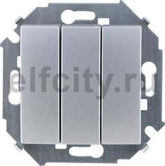 Выключатель трехклавишный, 10 А / 250 В, алюминий