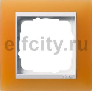 Рамка 1 пост, пластик матово-янтарный/глянц.белый