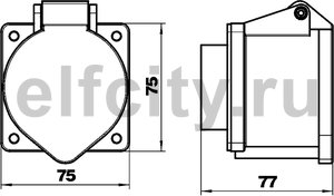 Силовой разъем CEE32А для блока питания VH, 75x75x72 мм