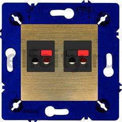 Розетка двойная, для стерео-громкоговорителя, бронза матовая/чорный