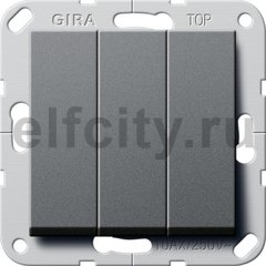 Клавишный выключатель. Переключатель 3-клавишный, пластик антрацит