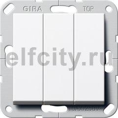 Клавишный выключатель. Переключатель 3-клавишный, пластик белый глянцевый