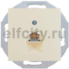 Розетка телефонная одинарная RJ11, пластик кремовый (белый с блеском)