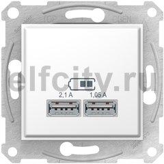 Розетка USB для зарядки мобильных устройств 2,1А (2x1,05А), белый
