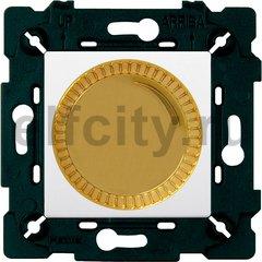 Диммер (светорегулятор) поворотный 40-500 Вт для ламп накаливания и галогенных 220В, светлое золото/белый