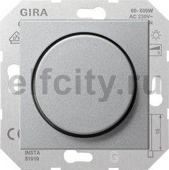 Диммер (светорегулятор) поворотный 60-600 Вт для ламп накаливания и галогенных 220B, пластик под алюминий