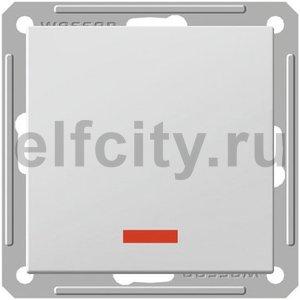 W59 1-клавишный ПЕРЕКЛЮЧАТЕЛЬ перекрестный с подсветкой, 16АХ, механизм,МАТ.ХРОМ