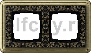 Рамка 2 поста, для горизонтального/вертикального монтажа, бронза/черный