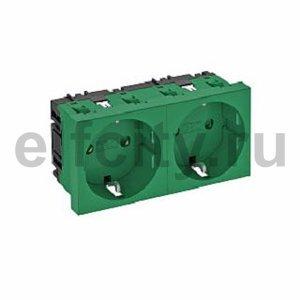 Розетка двойная 0° с з/к, 250 В, 16A (зеленый)