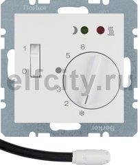 Термостат механический с выносным датчиком, для электрического подогрева пола 230 В~ 8А, пластик белый глянцевый