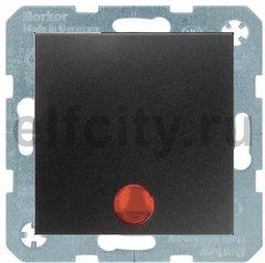 Выключатель одноклавишный с подсветкой, 10 А / 250 В, пластик антрацит