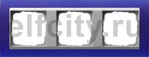 Рамка 3 поста, для горизонтального/вертикального монтажа, пластик матово-синий/алюминий