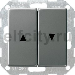 Выключатель управления жалюзи клавишный, 10 А / 250 В, нержавеющая сталь