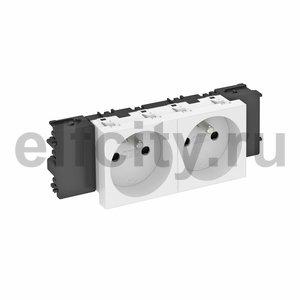 Розетка двойная 0° Modul45connect франц. стандарт, 250 В, 16A (белый)
