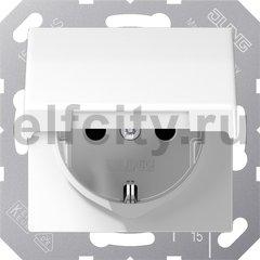 Розетка с заземляющими контактами 16 А / 250 В, с откидной крышкой, пластик белый глянцевый