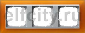 Рамка 3 поста, для горизонтального/вертикального монтажа, пластик матово-янтарный/алюминий