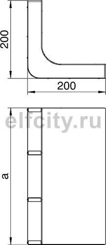 Вертикальный угол 90° кабельного канала EUK 250x38 мм (сталь)