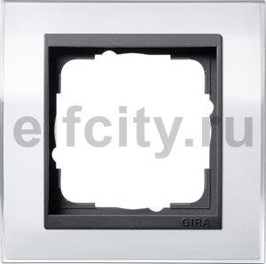Рамка 1 пост, пластик прозрачный белый-антрацит