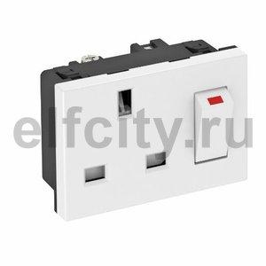 Розетка одинарная 0° брит.стандарт с выключателем, 16А, 250 В (белый)