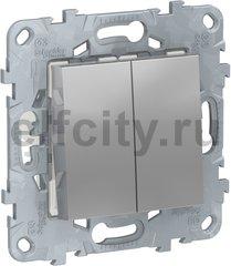 Выключатель двухклавишный, 10 А / 250 В, алюминий
