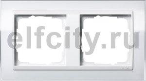 Рамка 2 поста, для горизонтального/вертикального монтажа, пластик прозрачный белый-глянц.белый