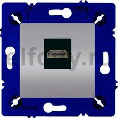 Розетка HDMI, для серии Marco, светлый хром/чорный