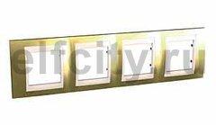 Рамка 4 поста, для горизонтального монтажа, золото/бежевый