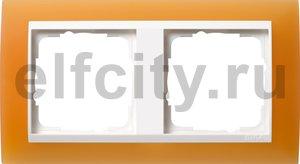 Рамка 2 поста, для горизонтального/вертикального монтажа, пластик матово-янтарный/глянц.белый