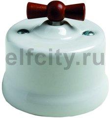 Выключатель поворотный одноклавишный универсальный (вкл/выкл с 1-го 2-х мест) 10 А / 250 В, наружный монтаж, белый фарфор, ручка мёд