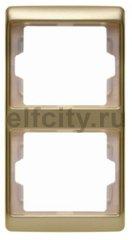 Рамка 2 поста, для вертикального монтажа, металл под золото