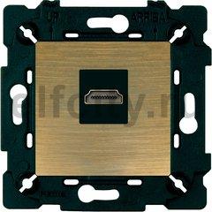 Розетка HDMI, бронза матовая/чорный