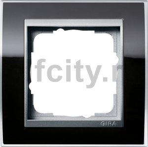 Рамка 1 пост, пластик прозрачный черный-алюминий