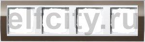 Рамка 4 поста, для горизонтального/вертикального монтажа, пластик прозрачный коричневый-глянц.белый