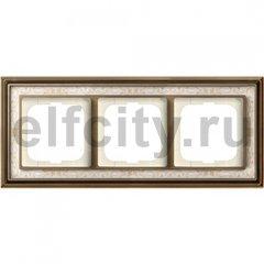 Рамка 3 поста, для горизонтального/вертикального монтажа, латунь античная/белая роспись
