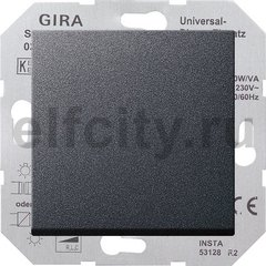 Диммер (светорегулятор) клавишный универсальный 50-420 Вт для ламп накаливания и низковольтных галогенных ламп, пластик антрацит