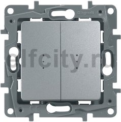 Выключатель/переключатель двухклавишный с подсветкой - Etika - 10 A - 250 В~ - алюминий