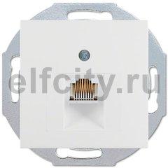 Розетка телефонная одинарная RJ11, пластик белый матовый